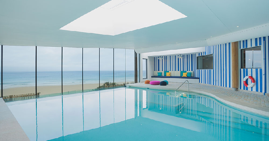 The spa pool at Watergate Bay Hotel