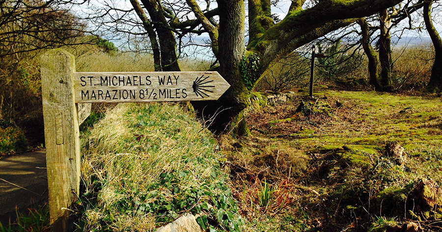 Sign on St Michael's Way Lelant to Marazion