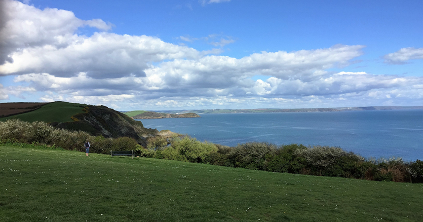 Walking with the new Kneehigh Theatre Walk With Me story app near Mevagissey in Cornwall