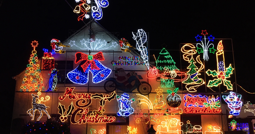 Christmas lights at Colin Marshall's house, St Austell
