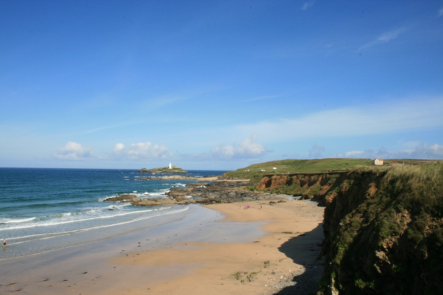 View of Godrevy Lighthouse across the beach