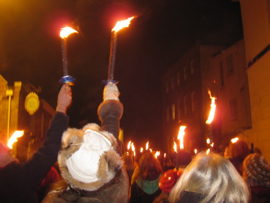 Montol midwinter festival in Penzance, Cornwall