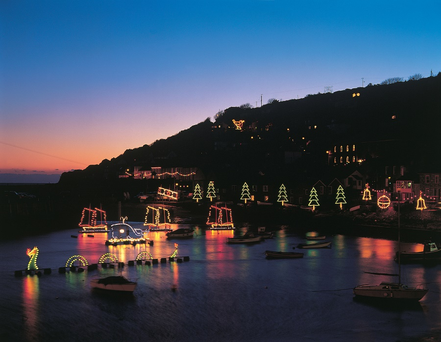 Christmas lights at Mousehole