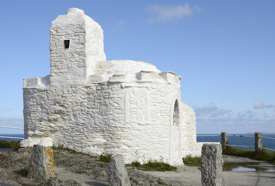 Lookout place known as the Huer's Hut on the cliffs at Newquay Cornwall England