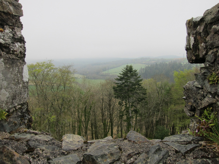 View over the valley below Restormel Castle