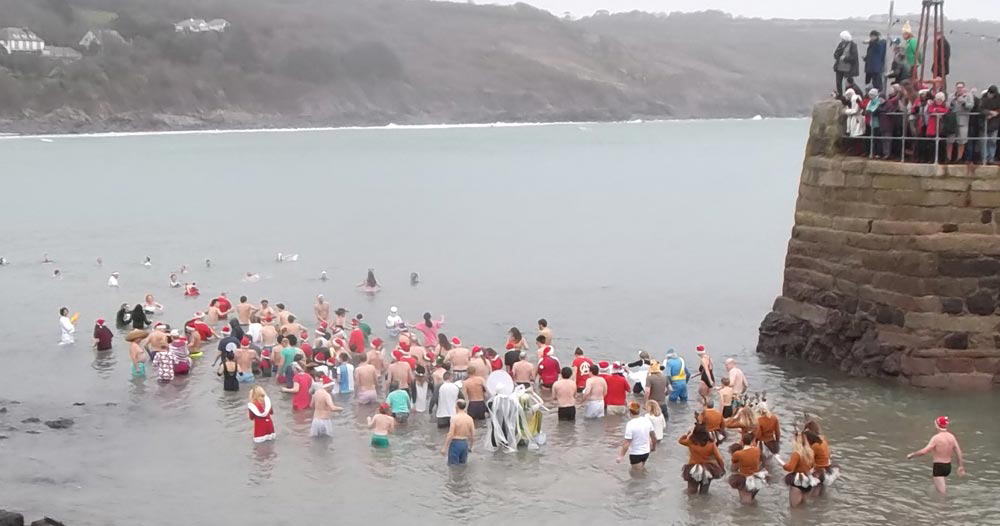 Coverack Christmas Day Swim 2015 by Robin Hobson of Coverack Windsurfing Centre
