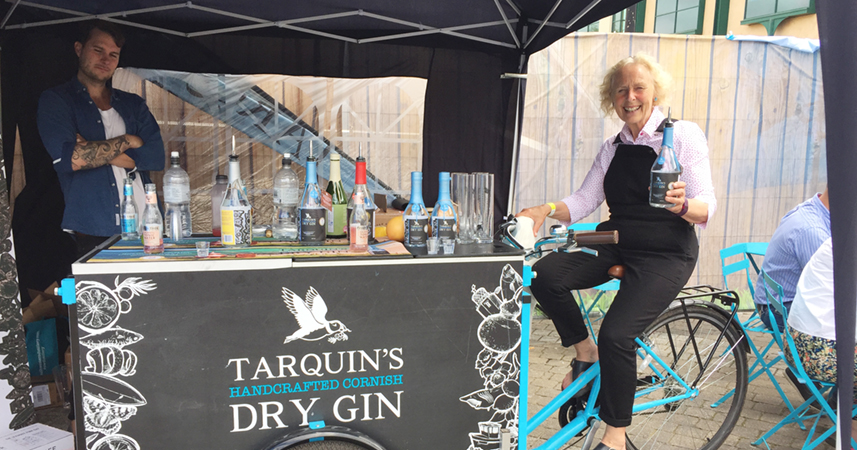 Action Nan in action at the Cornwall Gin Festival
