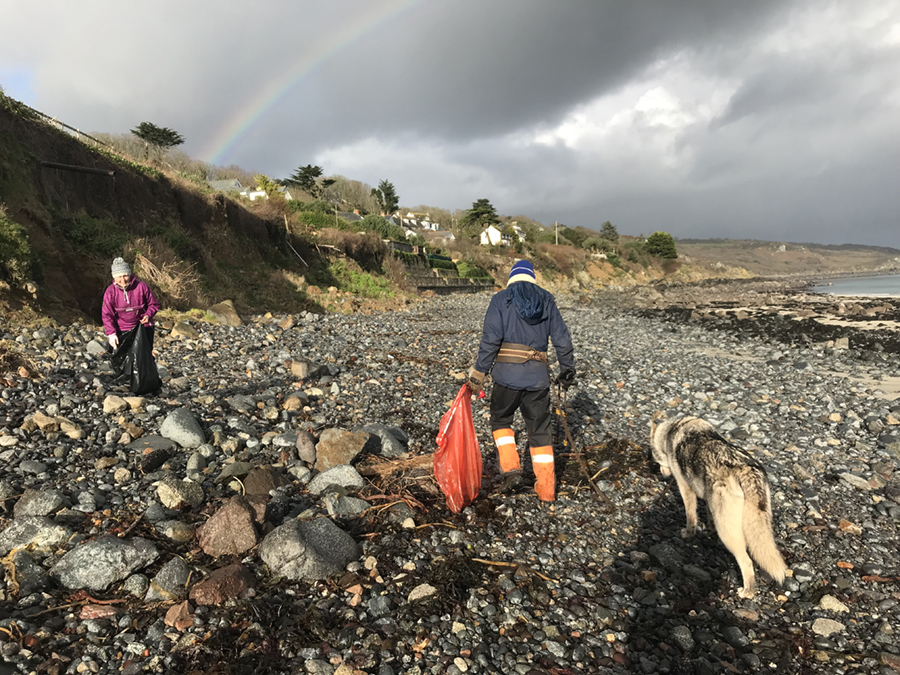 Wayne Dixon and Action Nan Pat Smith beach clean at Coverack in Cornwall