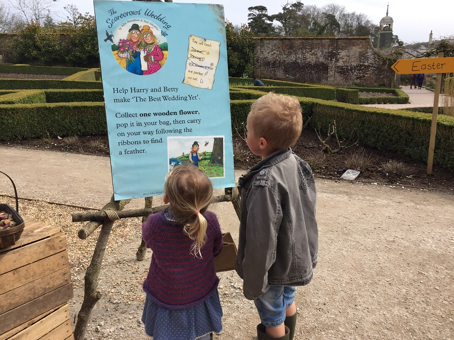 Kids starting The Scarecrows' Wedding trail at Heligan