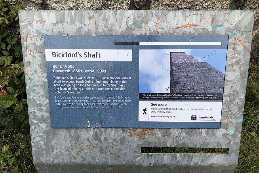 Sign about Bickford's Shaft