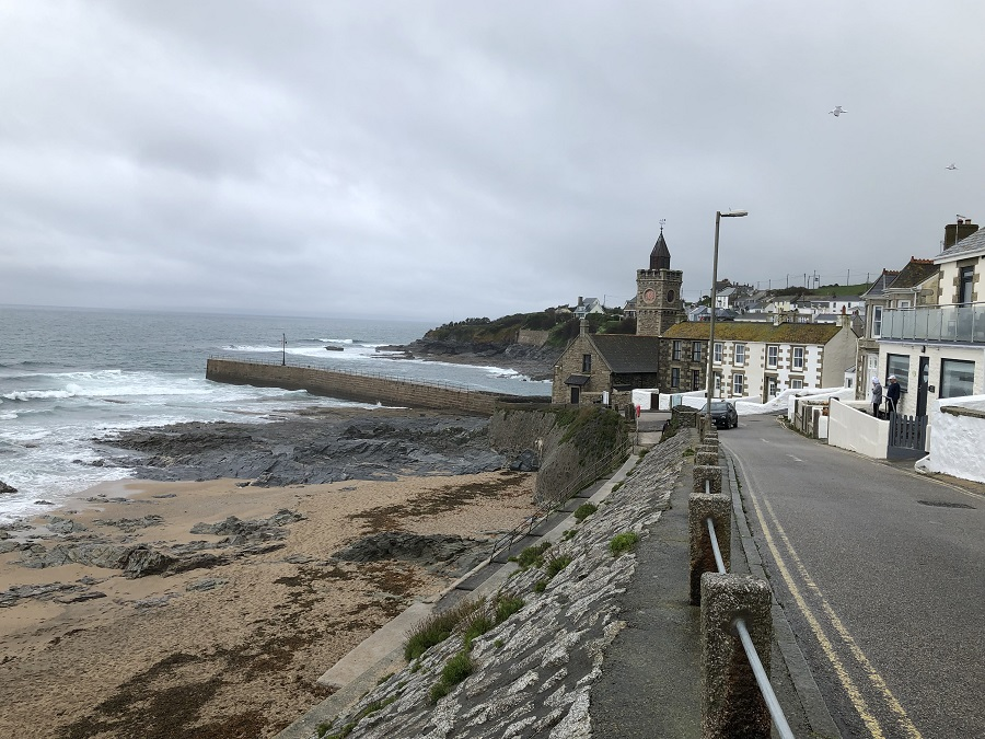 View toward Porthleven clock tower