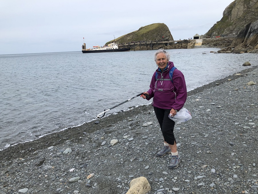 Pat Smith beach cleaning at Lundy Island