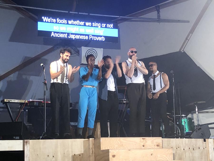 Kneehigh Theatre's UBU karaoke cast sing happy Birthday to Action Nan